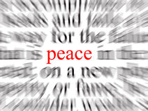 Peace. Blurred text with a focus on peace vector illustration
