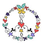 Peace. A funky peace symbol made of simple doodles Stock Photography