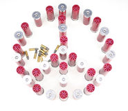 Peace. Shotgun shells arranged iin a peace symbol stock photo
