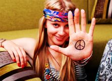 Peace!. Portrait of girl in retro style. World peace stock photography