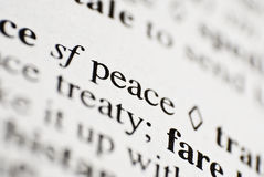 Peace. The word Peace from the dictionary macro shot Royalty Free Stock Photography