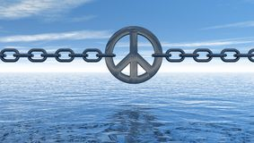 Peace. Chain with metal peace symbol over water  - 3d illustration Royalty Free Stock Images