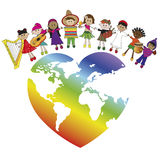 Peace. Illustration with world and some children Royalty Free Stock Images