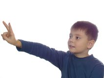 Peace. Boy showing fingered V-sign isolated over white Stock Image