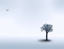 Peace. A lone bird and lone tree inhabit a white minimal landscape Royalty Free Illustration