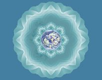 Peace. Mandala with a earth in the middle Stock Photos