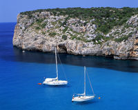 Peace. Two sail boats in the bay of Paleokastritsa on the greek island of Corfu stock photo