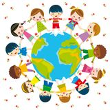 Peace. Illustration of circle of children and earth