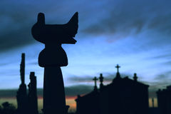 Peace. A silhouette of a dove on a cemetery - the symbol of peace Stock Photo