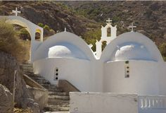 Peace. Old whitewashed church in Santorini stock photo