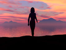 Peace. Sunset and woman,sea and cloud,mountaine and sunrise Stock Photography