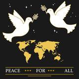 Peace for all greeting card. EPS10 vector.  Doves and map thin l Stock Photo
