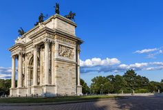Peace Arch in Milan. Lateral perspective of the  Peace Arch and its square in the city of Milan Stock Image