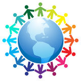 Peace around the world. Illustration of different people holding hands in a circle around the word planet Stock Image