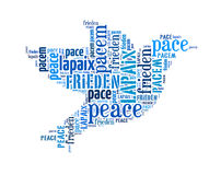 Peace arrangement concept word. In many languages of the world (word cloud Stock Images
