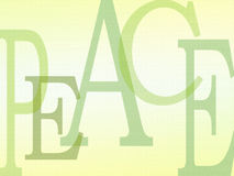 PEACE background letters. Peace word - An illustration image made up of the five letters in the word text peace. Sweet and refreshing lime, yellow and green royalty free illustration