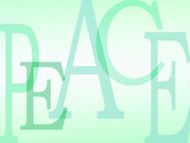 PEACE background letters. An illustration image made up of the five letters in the word peace.  Cool and refreshing turquoise and spring green colour palette Royalty Free Stock Images