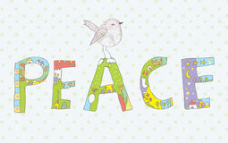 Peace background with sign and bird cute Stock Photos