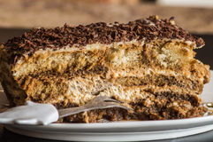 A peace of beautiful delicious homemade cake tiramisu,  low calories. A peace of beautiful delicious homemade cake tiramisu,  low calory, close up Royalty Free Stock Image