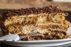 A peace of beautiful delicious homemade cake tiramisu. Stock Photo