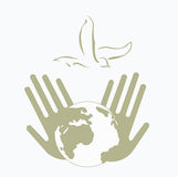 Peace bird. Dove as peace symbol in human palms Stock Photography