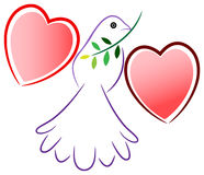 Peace bird with love wings. Isolated illustrated design Royalty Free Stock Photography