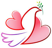 Peace bird with love wings. Isolated illustrated design Stock Images