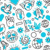 Peace blue love world freedom international free care hope seamless pattern vector illustration Royalty Free Stock Images