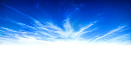 Peace in blue sky white clouds. On white stock image