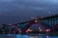 Peace Bridge with blue and pink lights Royalty Free Stock Photo