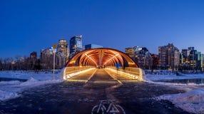 Peace Bridge in Calgary stock images