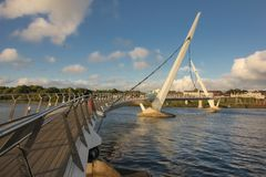 The Peace Bridge. Derry Londonderry. Northern Ireland. United Kingdom. The Peace Bridge over the river Foyle. Derry Londonderry. Northern Ireland. United Kingdom royalty free stock images