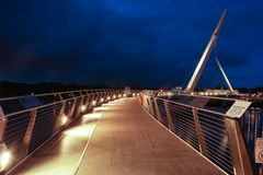 The Peace Bridge. Derry Londonderry. Northern Ireland. United Kingdom. The Peace Bridge over the river Foyle at night. Derry Londonderry. Northern Ireland Royalty Free Stock Photos