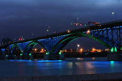Peace Bridge with green and blue lights Royalty Free Stock Images