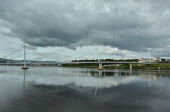 The Peace Bridge in Londonderry. In Northern Ireland Stock Photo