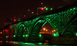 Peace Bridge at Night Stock Photo