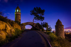 The Peace Bridge at night, at Mount Rubidoux Park  Royalty Free Stock Photography
