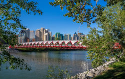 Peace Bridge spanning the Bow River Stock Photography