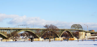 Peace Bridge in Winter Royalty Free Stock Photo