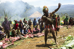 Peace calling in Huli papuan tribe. Strength show calling for peace with porks offering in central Papua Huli tribe Stock Photo