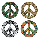 Peace Camos. Vector collection of peace symbols with camouflage designs Royalty Free Stock Images