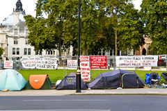 Peace Campaign. An anti war camp set up in Parliament Square in front of the Houses of Parliament, in Westminster, London Royalty Free Stock Photo