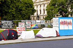 Peace Campaign. An anti war camp set up in Parliament Square in front of the Houses of Parliament, in Westminster, London Stock Photo