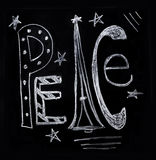 Peace in chalk. The word peace illustrated in chalk for holidays Royalty Free Stock Photos