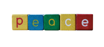 Peace in children's block letters Royalty Free Stock Image
