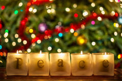 Peace Christmas Candles Stock Photography
