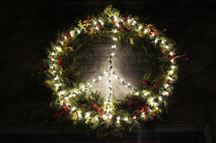 Peace Christmas Wreath in Georgetown at Night Royalty Free Stock Image