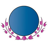 Peace circle. A blue circle bordered with purple plants twigs below Royalty Free Stock Image