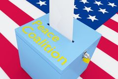 Peace Coalition concept. 3D illustration of Peace Coalition script on a ballot box, with US flag as a background stock illustration
