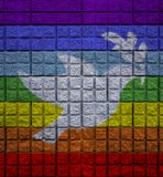 Peace color on wall with bird of peace symbol royalty free stock photography